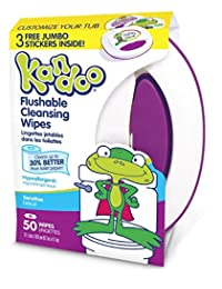 Kandoo Kids Flushable Wipes, Potty Training Cleansing Cloths with Refillable Tub, Sensitive, 50 Count (Pack of 6) BOBEBE Online Baby Store From New York to Miami and Los Angeles