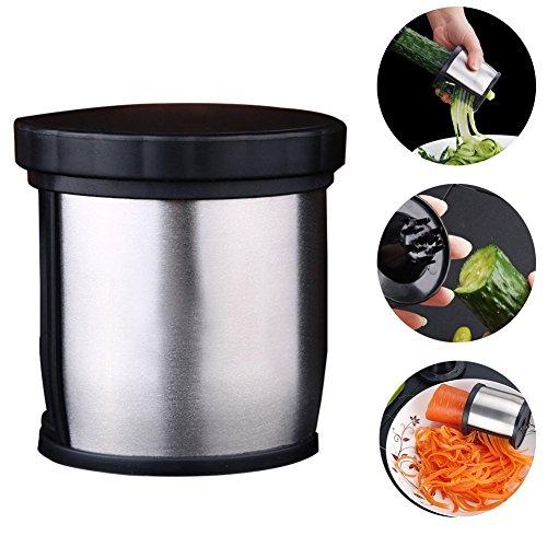 Handheld Vegetable Spiralizer, Vegetable Slicer, Hand-Held Vegetable Spiral Planer, Stainless Steel Portable Professional Kitchen Tools Handheld Grater (Black)