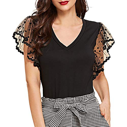 Teresamoon-Shirt Womens Cut Out Off Shoulder Short Sleeve Dolman Drape Loose Fit Tunic Top Plus Size Black]()