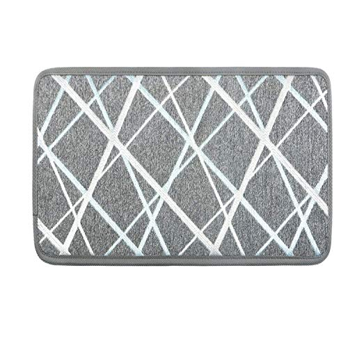 Seloom Stair Treads/Landing Mat/Floor Rugs with Non-Slip Rubber Backing, Perfect for Door Entrance, Grey 24×36 Inch