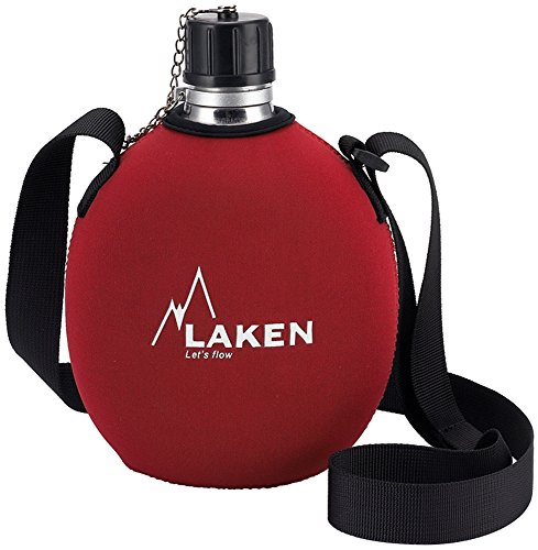 Laken Clasica Aluminum Canteen Water Bottle with Neoprene Cover, 34 Oz, Red 121