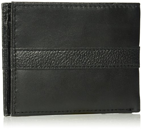 Tommy Hilfiger Men's RFID Blocking 100% Leather Ranger Passcase Wallet, black, One Size