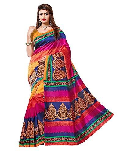 Women's Bhagalpuri Art Silk Traditional Saree Unstitched Blouse Design (BHAGALPURI SAREE 35_Multi color)