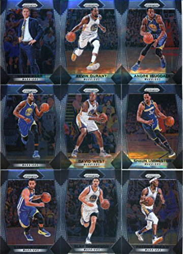 2017-18 Panini Prizm Basketball Complete Golden State Warriors Team Set of 10 Cards which includes: Stephen Curry(#41), Klay Thompson(#42), Andre Iguodala(#43), Kevin Durant(#44), Patrick McCaw(#45), Draymond Green(#46), Jordan Bell(#47), David West(#48), Shaun Livingston(#49), Steve Kerr(#50)