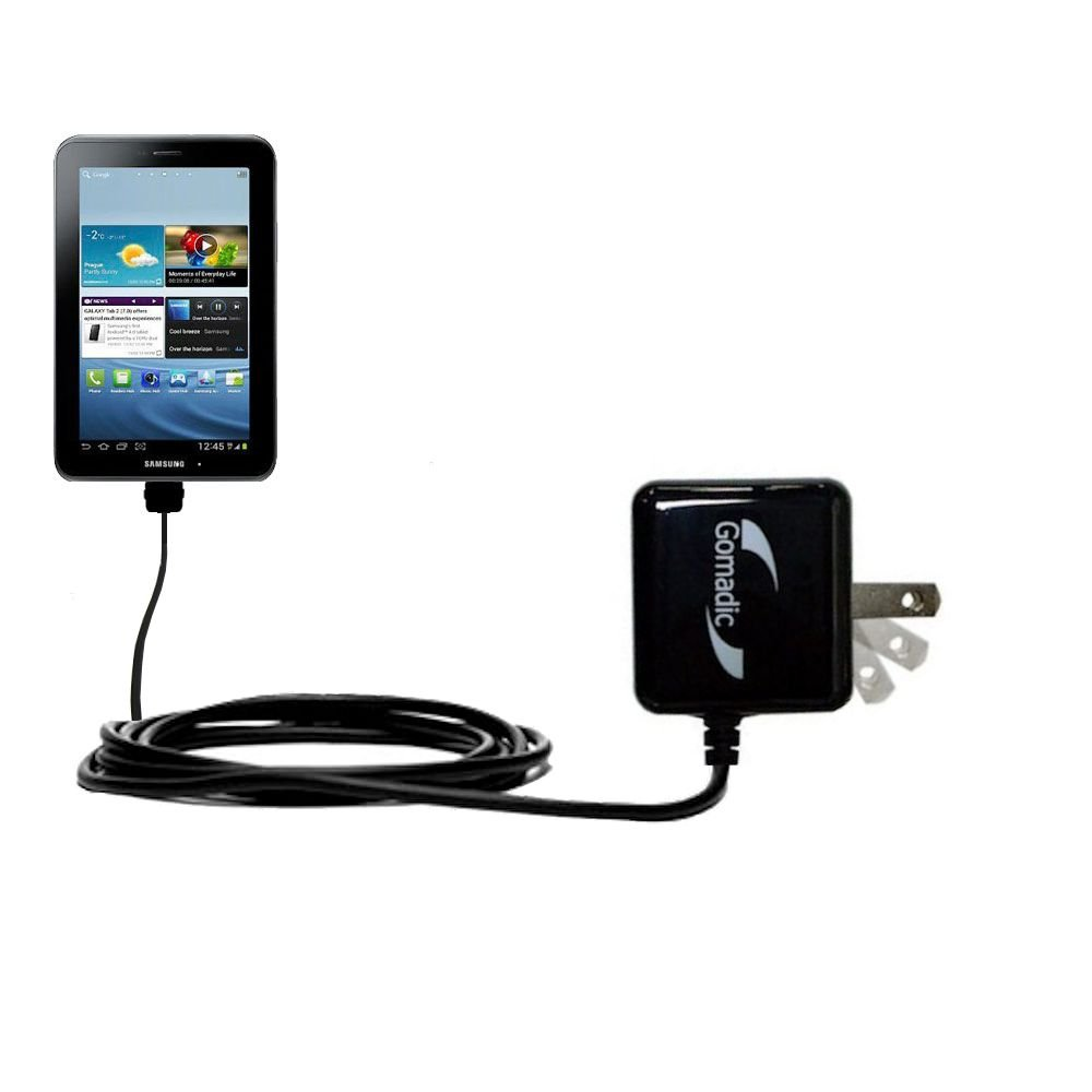 Gomadic High Output Home Wall AC Charger designed for the Samsung Galaxy Tab2 with Power Sleep technology - Intelligently designed with Gomadic TipExchange