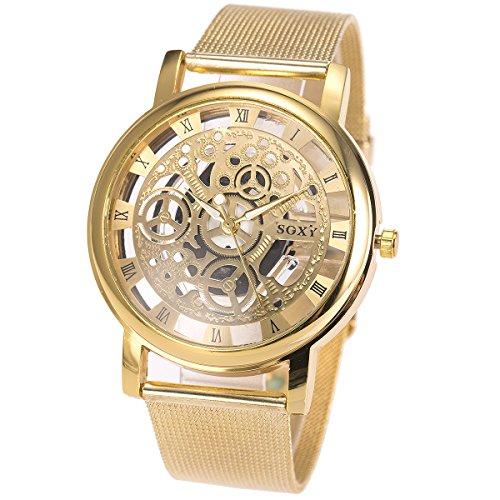SIBOSUN Men's Watches with Skeleton Face Wrist Watch for Men Gold Mesh Stainless Steel Band Quartz Analog