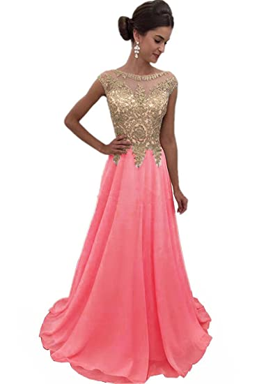 Topashe Womens Chiffon Evening Dress A Line Gold Lace Appliques Prom Gown US2