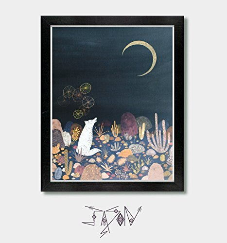 A Message for the Moon. Wolf, Coyote, Arizona, Desert, Nursery Art, Tucson, New Mexico, Southwestern, Cactus, Succulent, Moon, Art Prints, Artwork, Wolf Art, Coyote Art (Coyote Works)