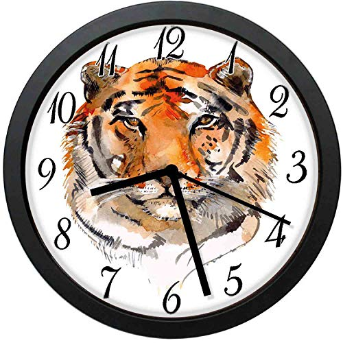 FangZhuruiw Feline Animal with Calming Stare Hand Drawn Watercolor Exotic Wildcat Hunter-Stylish Modern Round Wall Clock -10 inch,Quiet and Non-Ticking,Used to Decorate bedrooms,Offices,Kitchens,etc.