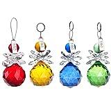 H&D 4pcs Multi-color Crystal Hanging Prism Suncatcher