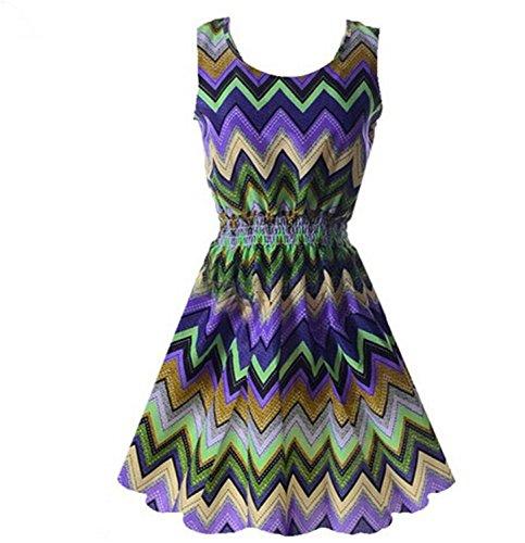 JDFH002 Chic Women Bohemian Floral Sundress Printed Sleeveless Chiffon Dress (Plus Size 90s Fancy Dress)