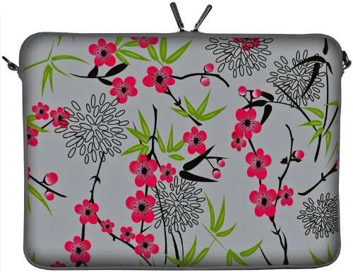 DIGITTRADE LS104-15 Sakura Designer Notebook Sleeve 15,4″ Laptop Cover neoprene soft carry case up to 15.6 inch Anti Shock System, Best Gadgets