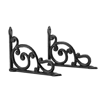 Set Of 4 Victorian Floral Pattern Brackets Antique Styled Cast Iron Braces Black Architectural & Garden Hooks, Brackets & Curtain Rods
