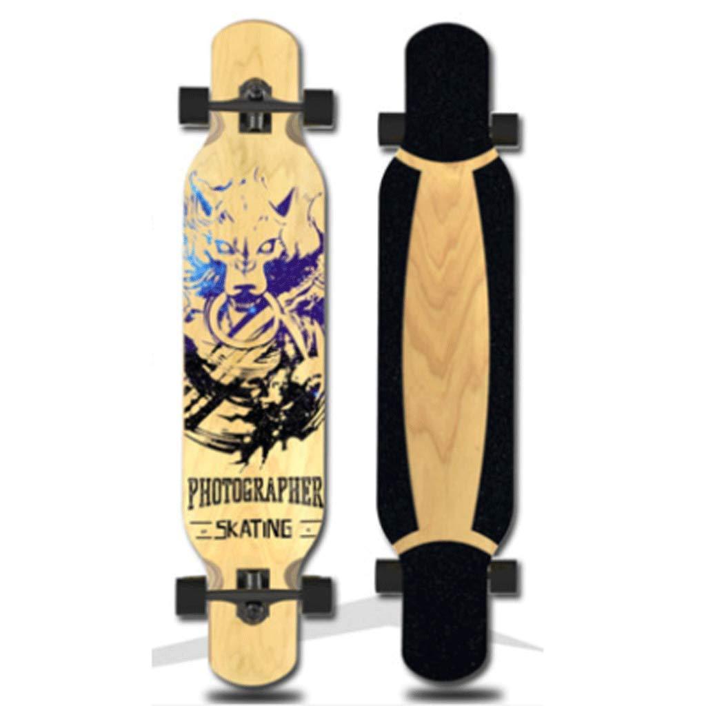 KYCD Versione aggiornata della tavola da Ballo Long Board Adult Beginner Professional Street Skills Road Skateboard (colore   Wolf)