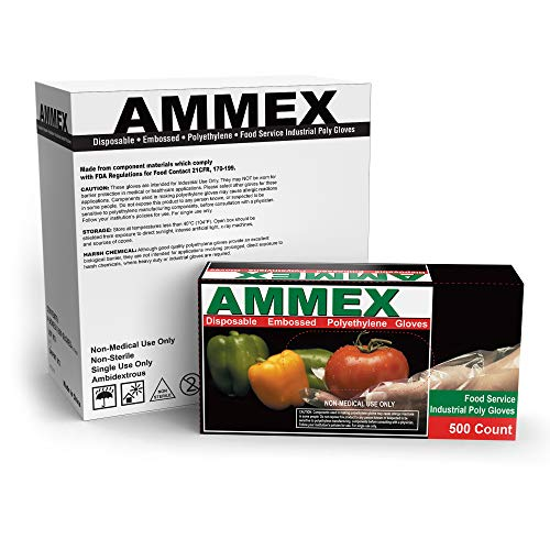 AMMEX Embossed Polyethylene Disposable Gloves - Clear, 1 Mil, Food Service, Large, Case of 2000 from Ammex