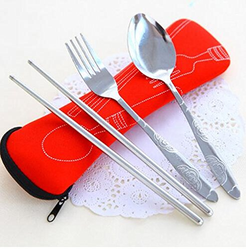 HEMALL 3 Piece Stainless Steel  Lightweight, Travel / Camping Cutlery Set with Neoprene Case Q004