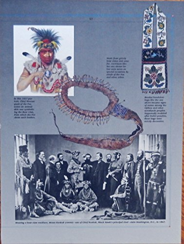 ef Nesouaquoit, chief Keokuk, bear claws necklace, 1867 visits D.C., rare print art, gently removed from the Mighty Chieftains Indian Art Book (1837 Print)