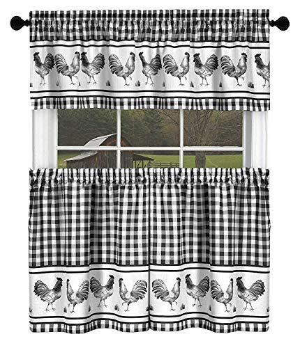 GoodGram Country Home Plaid Rooster Kitchen Curtain Tier & Valance Set - Assorted Colors & Sizes (36 in. Long, Black) - Kitchen Tier Curtain