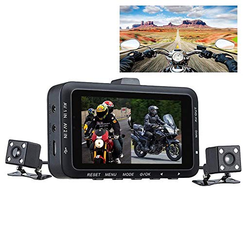 LayOPO Dash Cam for Motorcycle, Biker's Camera, Dual Lens Video Recorder Motorcycle Action Camer with 3.0