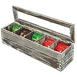 MyGift 5-Compartment Rustic Torched Wood Tea Bag