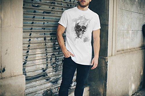 Totenkopf T-Shirt Herren, weiß mit Aufdruck