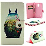 M-LV Samsung Galaxy Note 4 N9100 leather Case <Totoro > Fashion Pattern Printing Wallet Flip Magnet Cards Slots Stand Leather Carry Case with Screen Protector and Cleaning Cloth