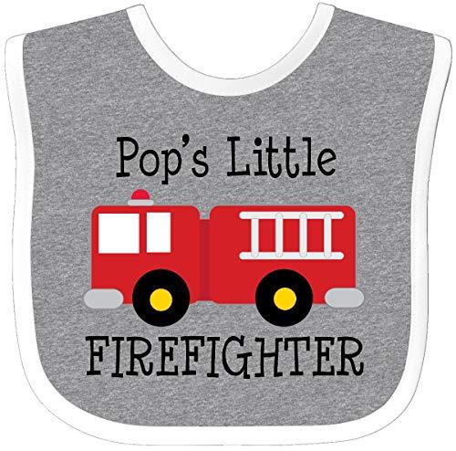Inktastic - Pop's Little Firefighter Grandson Baby Bib Heather/White 22074