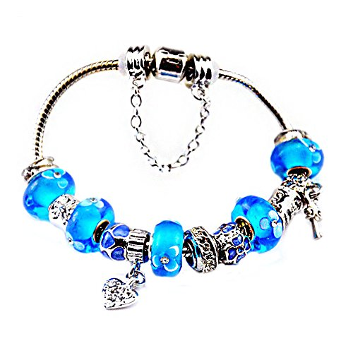 Silver Plated Charm Bracelet with Charms for Pandora Sky Blue Christmas and Birthday Gift for Girl over 6 Year Old Children and Teenage 7 inch Jewelry DIY Hand Made Glass - Glasses Tiffany Key