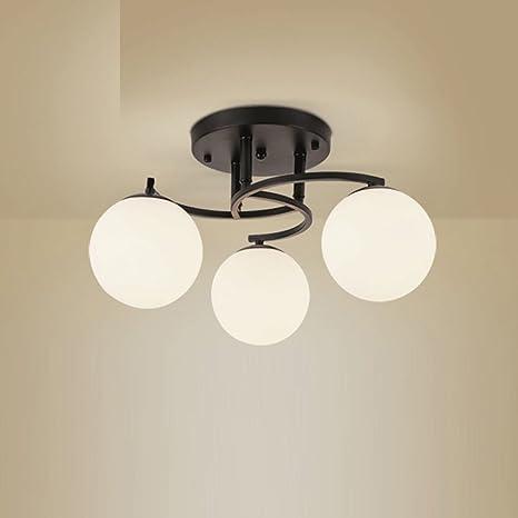 Vintage lámparas de techo bola pantalla de cristal E27 3 luz ...