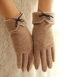 LQABW Nuevos Guantes De Pantalla Táctil Bowknot Lady Fingering Warmth Gloves,Brown