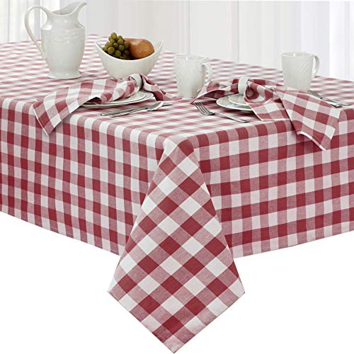 Newbridge Buffalo Check Rustic Indoor/Outdoor Cotton Tablecloth Cottage Style Gingham Check Pattern Tablecloth - 60 x 120 Oblong/Rectangular, Burgundy -