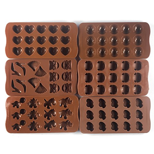 Bekith Silicone Gel Non-stick Chocolate, Jelly and Candy Mold, Cake Baking Mold (Set of 6) by Bekith (Image #1)