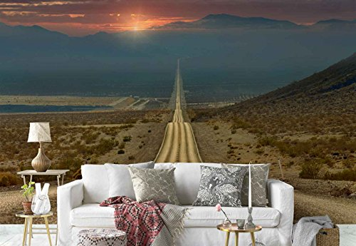 Photo wallpaper wall mural - Undulating Asphalt Road Mountains - Theme Travel & Maps - XL - 12ft x 8ft 4in (WxH) - 4 Pieces - Printed on 130gsm Non-Woven Paper - 1X-1280461V8 by Fotowalls Photo Wallpaper Murals