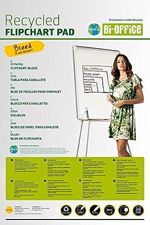 Bi-Office Earth Blocco di Carta Riciclata Per Portablocco, Euro Forato con 6 Fori Standard, 50 Fogli Per Lavagna da 55 g/mq, Conf. da 5 Bi-Silque FL0311802
