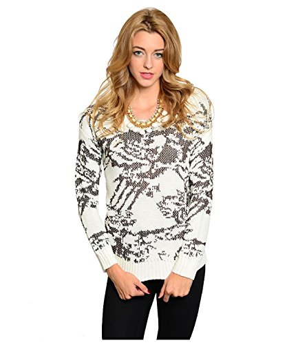G2 Chic Women's Warm Long Sleeve Graphic Knit Sweater Top(TOP-SWT,OWH-S)