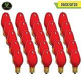 Perlite Lighting (Pack of 25) 7C7R/120 7-Watt C7 Ceramic Red E12 Base 120-Volt Light Bulb