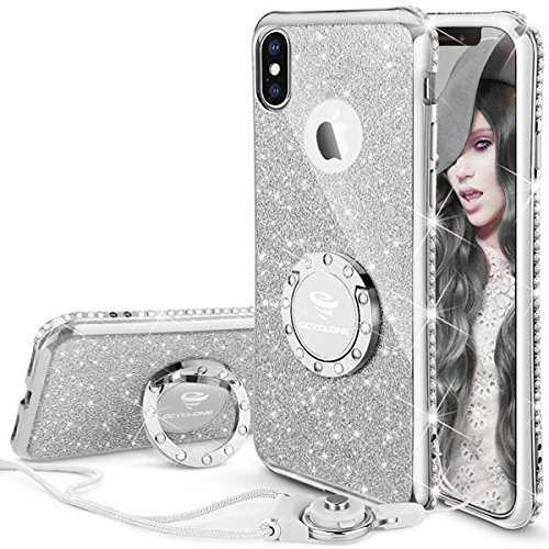 buy popular 55000 fc362 OCYCLONE iPhone X Case, iPhone XS Case, 5.8inch Cute Glitter Case with  Kickstand, Sparkly Bling Diamond Rhinestone Ring Stand Shiny iPhone  X/iPhone XS ...