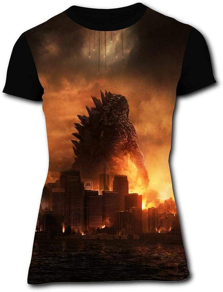 BEKAI Womens G-od-Zill-a Fire City Raglan T Shirts Outdoor Sport Short Sleeve Fast Drying