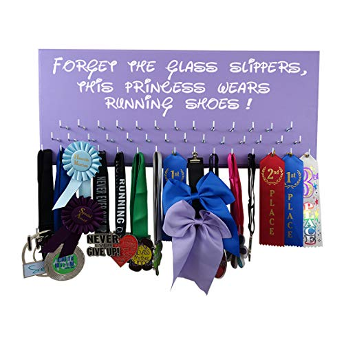 (Running On The Wall-Race bib and Medals Display-Wall Mounted Medal Holder, Hanger for Marathons, Track, Cross Country, 5K & 10K Runners - Forget The Glass Slippers, This Princess Wears Running Shoes)