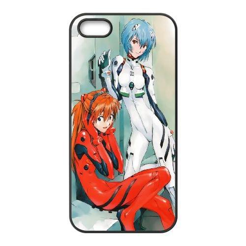 Ayanami Rei And Asuka Langley Soryu coque iPhone 5 5S Housse téléphone Noir de couverture de cas coque EBDOBCKCO11554