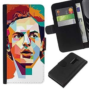 A-type (Polígono Naranja trullo Redhead retro) Colorida Impresión Funda Cuero Monedero Caja Bolsa Cubierta Caja Piel Card Slots Para LG G2 D800