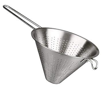 MGE - Colador Chino de Cocina - Diámetro 14 cm - Acero Inoxidable - Plata