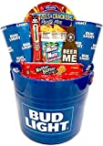 Large Beer Bucket Man Gift Basket -Gift For Men- Filled With Beer Glasses, Nuts, Pretzels, Jerky + More - Perfect for Father's Day - Birthdays - Christmas - (Ice Bucket Food Gift -Bud Light)