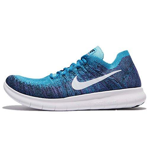 Nike Men's Free RN Flyknit 2017, Blue Orbit/Pure Platinum-Black, 14 M US