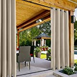 """ChadMade Windproof Outdoor Curtain with Top Bottom Grommet Beige 120"""" W x 96"""" L, Waterproof and Mildew Resistant Patio Cabana Porch Gazebo Panel Drapery (1 Panel)"""