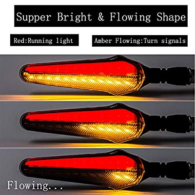 Cynemo Motorcycle Flowing Led Turn Signal Lights Blinkers Front Rear Indicators for Motorbike Yamaha Scooter Harley Cruiser Honda Kawasaki BMW Suzuki(1Pair,Pack of 2): Automotive