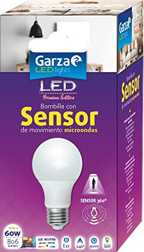 Garza Lighting - Bombilla LED con Sensor Microondas 360º, E27, 10 W, Luz Neutra 4000K: Amazon.es: Iluminación