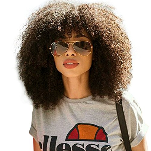 Short Fluffy Afro Kinky Curly Wig Brazilian Pre Plucked Glueless Lace Front Wig Human Hair Wigs for Black Women With Baby Hair by Remeehi 10 inch 4# Medium Brown
