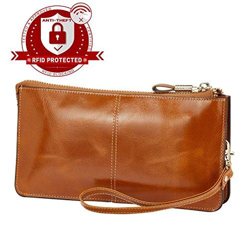 Brown Leather Wristlet - Lecxci Luxury Womens Genuine Leather Clutch Cell Phone Handbags, Zipper Wristlets Wallets Purse for Women (Tan RFID Blocking)
