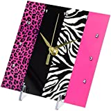 3dRose dc_35436_1 Pink Black and White Animal Print-Leopard and Zebra-Desk Clock, 6 by 6-Inch